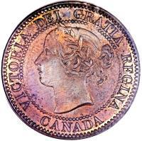 obverse of 1 Cent - Victoria (1858 - 1859) coin with KM# 1 from Canada. Inscription: VICTORIA DEI GRATIA REGINA. CANADA