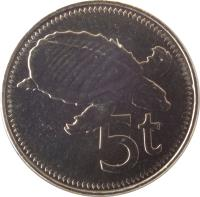 reverse of 5 Toea - Elizabeth II (2002 - 2010) coin with KM# 3a from Papua New Guinea. Inscription: 5t