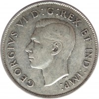 obverse of 50 Cents - George VI (1937 - 1947) coin with KM# 36 from Canada. Inscription: GEORGIVS VI D:G:REX ET IND:IMP: