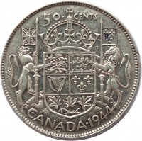reverse of 50 Cents - George VI (1937 - 1947) coin with KM# 36 from Canada. Inscription: 50 CENTS CANADA · 1944