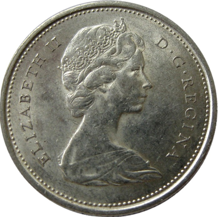 25 Cents Elizabeth Ii 2 Nd Portrait 1965 1966 Canada Km 62 Coinsbook