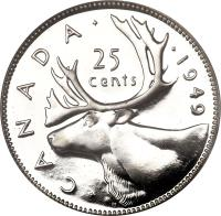 reverse of 25 Cents - George VI (1948 - 1952) coin with KM# 44 from Canada. Inscription: · C A N A D A · · 1949 25 cents