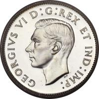 obverse of 25 Cents - George VI (1937 - 1947) coin with KM# 35 from Canada. Inscription: GEORGIVS VI D:G:REX ET IND:IMP: