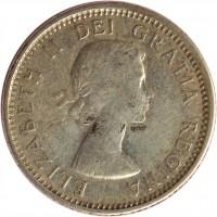 obverse of 10 Cents - Elizabeth II - 1'st Portrait (1953 - 1964) coin with KM# 51 from Canada. Inscription: ELIZABETH II DEI GRATIA REGINA