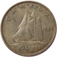 reverse of 10 Cents - Elizabeth II - 1'st Portrait (1953 - 1964) coin with KM# 51 from Canada. Inscription: CANADA 1964 10 CENTS