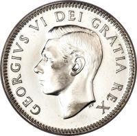 obverse of 10 Cents - George VI (1948 - 1952) coin with KM# 43 from Canada. Inscription: GEORGIVS VI DEI GRATIA REX HP