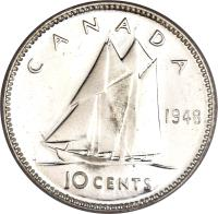 reverse of 10 Cents - George VI (1948 - 1952) coin with KM# 43 from Canada. Inscription: CANADA 1949 10 CENTS