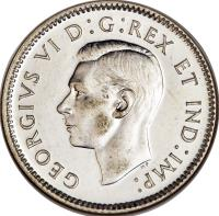 obverse of 10 Cents - George VI (1937 - 1947) coin with KM# 34 from Canada. Inscription: GEORGIVS VI D:G:REX ET IND:IMP: