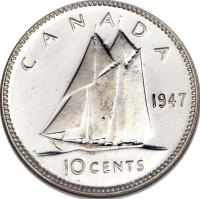 reverse of 10 Cents - George VI (1937 - 1947) coin with KM# 34 from Canada. Inscription: CANADA 1947 10 CENTS
