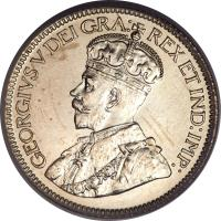 obverse of 10 Cents - George V (1920 - 1936) coin with KM# 23a from Canada. Inscription: GEORGIVS V DEI GRA: REX ET IND:IMP: