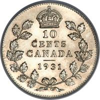 reverse of 10 Cents - George V (1920 - 1936) coin with KM# 23a from Canada. Inscription: 10 CENTS CANADA 1931