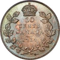 reverse of 10 Cents - George V (1912 - 1919) coin with KM# 23 from Canada. Inscription: 10 CENTS CANADA 1914