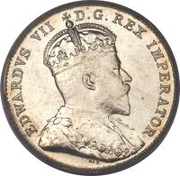 obverse of 10 Cents - Edward VII (1902 - 1910) coin with KM# 10 from Canada. Inscription: EDWARDVS VII D.G.REX IMPERATOR