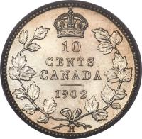 reverse of 10 Cents - Edward VII (1902 - 1910) coin with KM# 10 from Canada. Inscription: 10 CENTS CANADA 1902