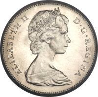 obverse of 5 Cents - Elizabeth II - 2'nd Portrait (1965 - 1981) coin with KM# 60 from Canada. Inscription: ELIZABETH II D · G · REGINA