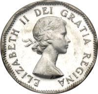 obverse of 5 Cents - Elizabeth II - 1'st Portrait (1953 - 1954) coin with KM# 50 from Canada. Inscription: ELIZABETH II DEI GRATIA REGINA