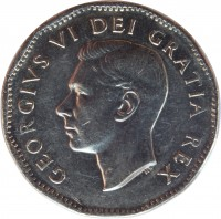 obverse of 5 Cents - George VI - Discovery of Nickel (1951) coin with KM# 48 from Canada. Inscription: GEORGIVS VI DEI GRATIA REX