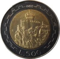 reverse of 500 Lire (1988) coin with KM# 226 from San Marino. Inscription: L. 500 1988