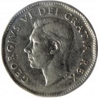 obverse of 5 Cents - George VI (1948 - 1950) coin with KM# 42 from Canada. Inscription: GEORGIVS VI DEI GRATIA REX