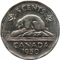 reverse of 5 Cents - George VI (1948 - 1950) coin with KM# 42 from Canada. Inscription: 5 CENTS CANADA 1950