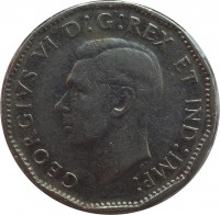 obverse of 5 Cents - George VI (1946 - 1947) coin with KM# 39a from Canada. Inscription: GEORGIVS VI D : G : REX ET IND : IMP :