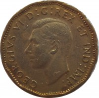 obverse of 5 Cents - George VI - Victory (1943 - 1944) coin with KM# 40 from Canada. Inscription: GEORGIVS VI D : G : REX ET IND : IMP :