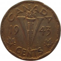 reverse of 5 Cents - George VI - Victory (1943 - 1944) coin with KM# 40 from Canada. Inscription: CANADA 19 V 43 T.S. CENTS
