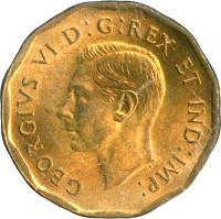 obverse of 5 Cents - George VI - Dodecagonal (1942) coin with KM# 39 from Canada. Inscription: GEORGIVS VI D:G:REX ET IND:IMP: