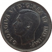 obverse of 5 Cents - George VI - Round (1937 - 1942) coin with KM# 33 from Canada. Inscription: GEORGIVS VI D : G : REX ET IND : IMP :