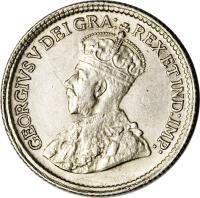 obverse of 5 Cents - George V (1920 - 1921) coin with KM# 22a from Canada. Inscription: GEORGIVS V DEI GRA: REX ET IND:IMP: