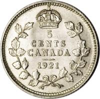 reverse of 5 Cents - George V (1920 - 1921) coin with KM# 22a from Canada. Inscription: 5 CENTS CANADA 1921