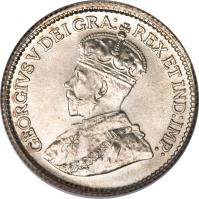 obverse of 5 Cents - George V (1912 - 1919) coin with KM# 22 from Canada. Inscription: GEORGIVS V DEI GRA: REX ET IND:IMP: