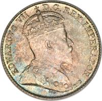 obverse of 5 Cents - Edward VII (1903 - 1910) coin with KM# 13 from Canada. Inscription: EDWARDVS VII D.G.REX IMPERATOR