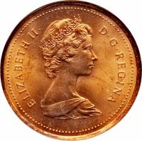 obverse of 1 Cent - Elizabeth II - 2'nd Portrait (1982 - 1989) coin with KM# 132 from Canada. Inscription: ELIZABETH II D · G · REGINA