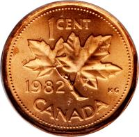 reverse of 1 Cent - Elizabeth II - 2'nd Portrait (1982 - 1989) coin with KM# 132 from Canada. Inscription: 1 CENT 1983 CANADA