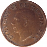 obverse of 1 Cent - George VI - Without IND IMP (1948 - 1952) coin with KM# 41 from Canada. Inscription: GEORGIVS VI DEI GRATIA REX