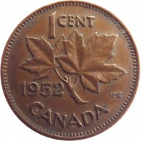 reverse of 1 Cent - George VI - Without IND IMP (1948 - 1952) coin with KM# 41 from Canada. Inscription: 1CENT 1949 CANADA