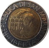 obverse of 500 Lire (1994) coin with KM# 314 from San Marino. Inscription: REPUBBLICA DI SAN MARINO · LIBERTAS ·