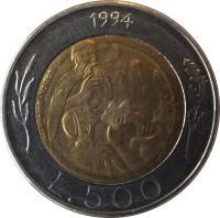 reverse of 500 Lire (1994) coin with KM# 314 from San Marino. Inscription: 1994 L.500 LOZICA · DRIULLI INC.