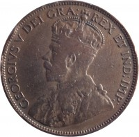 obverse of 1 Cent - George V - With DEI GRA (1912 - 1920) coin with KM# 21 from Canada. Inscription: GEORGIVS V DEI GRA: REX ET IND:IMP: