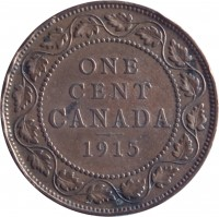 reverse of 1 Cent - George V - With DEI GRA (1912 - 1920) coin with KM# 21 from Canada. Inscription: ONE CENT CANADA 1913