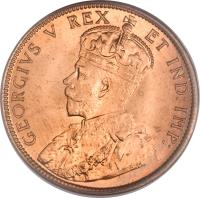 obverse of 1 Cent - George V - Without DEI GRA (1911) coin with KM# 15 from Canada. Inscription: GEORGIVS V REX ET IND:IMP: