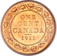 reverse of 1 Cent - George V - Without DEI GRA (1911) coin with KM# 15 from Canada. Inscription: ONE CENT CANADA 1911