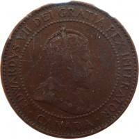 obverse of 1 Cent - Edward VII (1902 - 1910) coin with KM# 8 from Canada. Inscription: EDWARDVS VII DEI GRATIA REX IMPERATOR · CANADA ·