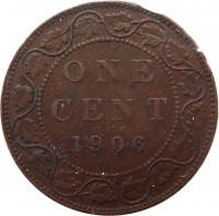 reverse of 1 Cent - Edward VII (1902 - 1910) coin with KM# 8 from Canada. Inscription: ONE CENT 1906