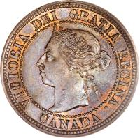 obverse of 1 Cent - Victoria (1876 - 1901) coin with KM# 7 from Canada. Inscription: VICTORIA DEI GRATIA REGINA. CANADA