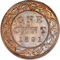reverse of 1 Cent - Victoria (1876 - 1901) coin with KM# 7 from Canada. Inscription: ONE CENT 1891 H
