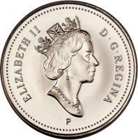 obverse of 10 Cents - Elizabeth II - 3'rd Portrait (1999 - 2003) coin with KM# 183b from Canada. Inscription: ELIZABETH II D · G · REGINA P