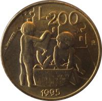 reverse of 200 Lire - Civil Commitments for the Third Millennium (1995) coin with KM# 329 from San Marino. Inscription: L.200 R 1995 L.PANCOTTO