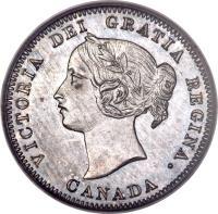 obverse of 5 Cents - Victoria (1858 - 1901) coin with KM# 2 from Canada. Inscription: VICTORIA DEI GRATIA REGINA. CANADA